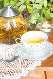 Chá e vela da fermentação na tabela Fotografia de Stock