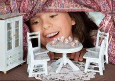 Chá em um dollhouse Foto de Stock Royalty Free
