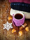 Chá em uma caneca envolvida no lenço minúsculo cercado por segmentos do mandarino e por varas da canela Imagens de Stock