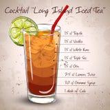 Chá gelado de Long Island do cocktail ilustração stock