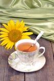 Chá, girassol, cetim, ainda vida, close-up Fotografia de Stock