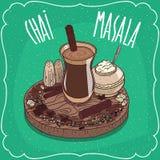 Chá indiano Masala chai com especiarias e ervas ilustração royalty free
