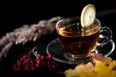 Chá no copo com o limão no fundo preto Foto de Stock Royalty Free