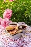 Chá no estilo country no jardim do verão Dois copos do chá preto e das panquecas na toalha de mesa laçado feita crochê feito a mã foto de stock royalty free