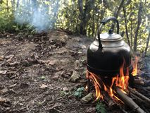 Chá no fogo de madeira imagem de stock royalty free