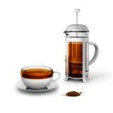 Chá preto com copo e imprensa do francês ilustração stock