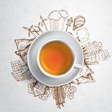 Chá preto com garatujas da ecologia do círculo Elementos esboçados do eco com o copo do chá verde, ilustração do vetor Imagem de Stock
