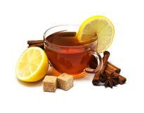 Chá preto com limão e canela Fotografia de Stock Royalty Free