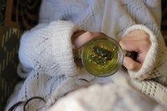 Chá prudente com mão da mulher Fotos de Stock Royalty Free