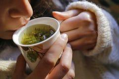 Chá prudente com mão da mulher e bordos da mulher Fotografia de Stock
