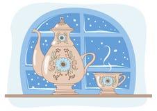 Chá que bebe em uma noite do inverno. Ilustração Royalty Free