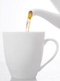 Chá que derrama em um copo Imagens de Stock