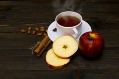Chá quente com canela e maçã imagem de stock royalty free