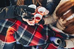 Chá quente de uma garrafa térmica no inverno fotos de stock royalty free