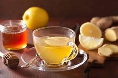 Chá quente do gengibre do limão no copo de vidro fotos de stock royalty free