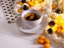 Chá quente do inverno com fruto no copo branco na tabela branca fotos de stock