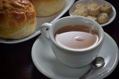 Chá quente do leite fotografia de stock