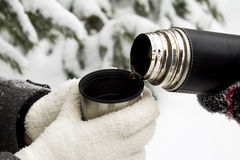 Chá quente em uma garrafa térmica exterior no inverno Fotos de Stock Royalty Free