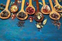 Chá seco com nas colheres de madeira imagens de stock