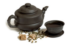 Chá, teapot, copo e açúcar Imagens de Stock Royalty Free