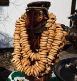 Chá tradicional do russo do samovar com bagels Imagem de Stock