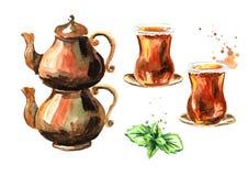 Chá turco no vidro tradicional com folhas de hortelã e com grupo de cobre do potenciômetro do chá Ilustração tirada mão da aquare ilustração stock