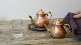 Chá turco tradicional video estoque