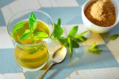Chá verde com estilo do marroquino da hortelã Fotografia de Stock