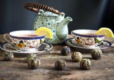 Chá verde de chá preto do bule Fotos de Stock