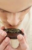 Chá verde de cheiro mestre de cerimônia de chá fotografia de stock