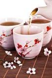 Chá verde de derramamento Fotografia de Stock Royalty Free