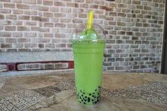 Chá verde do leite da bolha imagem de stock royalty free