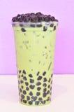 Chá verde do leite da bolha fotografia de stock
