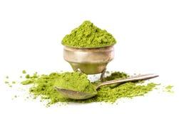Chá verde do pó fotografia de stock