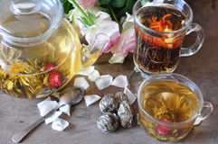 Chá verde e preto da elite Imagem de Stock Royalty Free