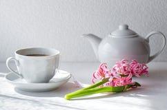 Chá verde em uma caneca branca Chaleira branca fotos de stock royalty free
