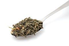 Chá verde secado na colher do metal Foto de Stock