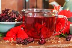 Chá vermelho da azeda vermelha do hibiscus do karkade na caneca de vidro com cu seco do chá fotos de stock