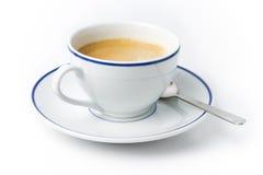 Chávena de café branca na placa com colher Imagem de Stock Royalty Free