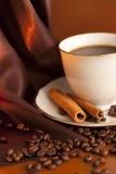 Chávena de café com canela e feijões imagens de stock