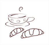 Chávena de café com croissants Imagens de Stock