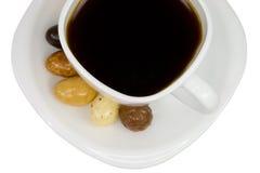 Chávena de café com doces Fotos de Stock Royalty Free