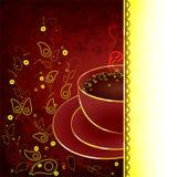 Chávena de café com elementos do design floral ilustração do vetor