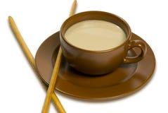 Chávena de café com leite Foto de Stock Royalty Free