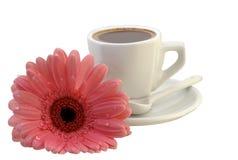 Chávena de café com um gerbera Fotografia de Stock Royalty Free