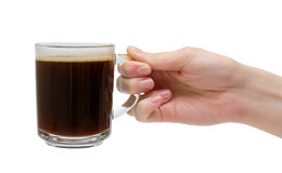 Chávena de café de vidro Fotografia de Stock Royalty Free
