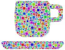 Chávena de café do Harlequin Fotografia de Stock
