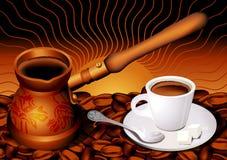 Chávena de café e grão Foto de Stock