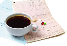 Chávena de café e pils Foto de Stock