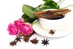 Chávena de café e rosas Imagens de Stock